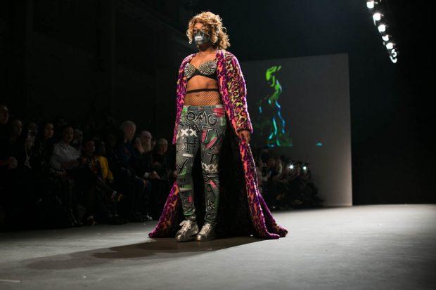 Artitude, Amsterdam Fashion Week, fashion show, catwalk, model, face mask, pink, leoprint, bold, spikes, crazy