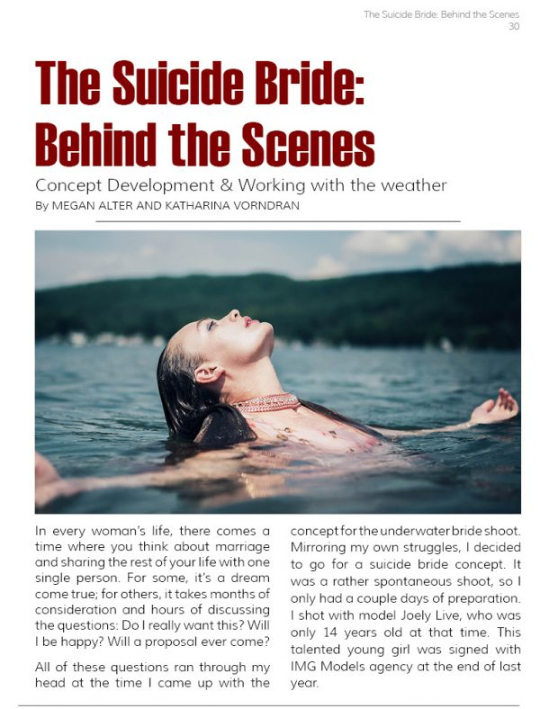 front page, suicide bride, underwater, model photography, publication