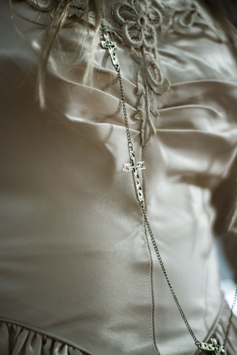 Photo, white dress, cross necklace, bridal series
