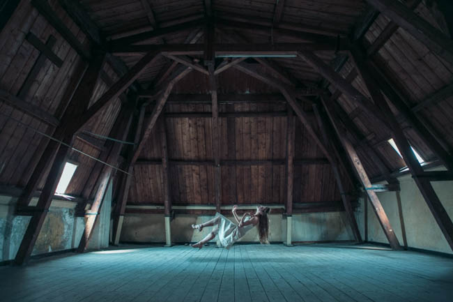 girl in the attic, surreal fashion, surreal fashion photography, flying, floating, magical photography, fashion photographers, attic, scary, creepy