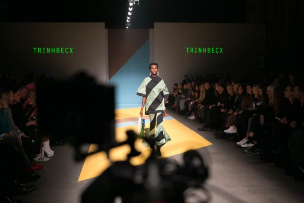 Trinhbecx, Amsterdam Fashion Week, catwalk, fashion show, model, fashion photographer Amsterdam, black and green, stripes, short hair