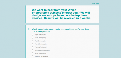 Photography Workshop Survey