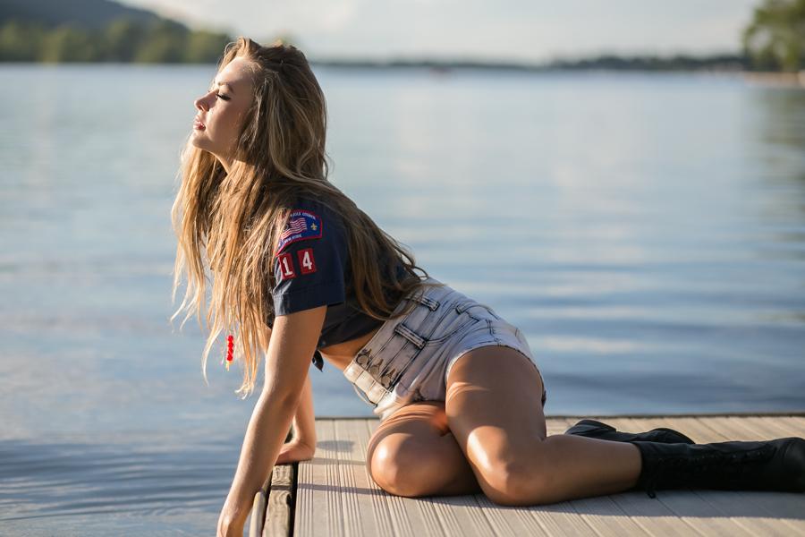 scouting girl by lake